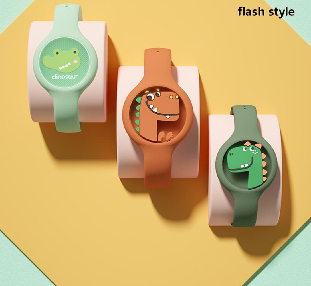 Indoor Cartoon Anti Mosquito Repellent Bracelets Baby Infant Children Luminous Hand Ring With light-crocodile (the strap color is random)