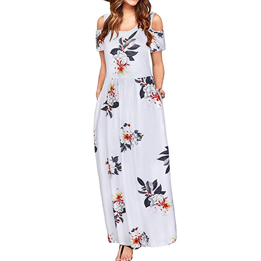 Women Elegant Off Shoulder Printing Long Style Pockets Dress White flower_M