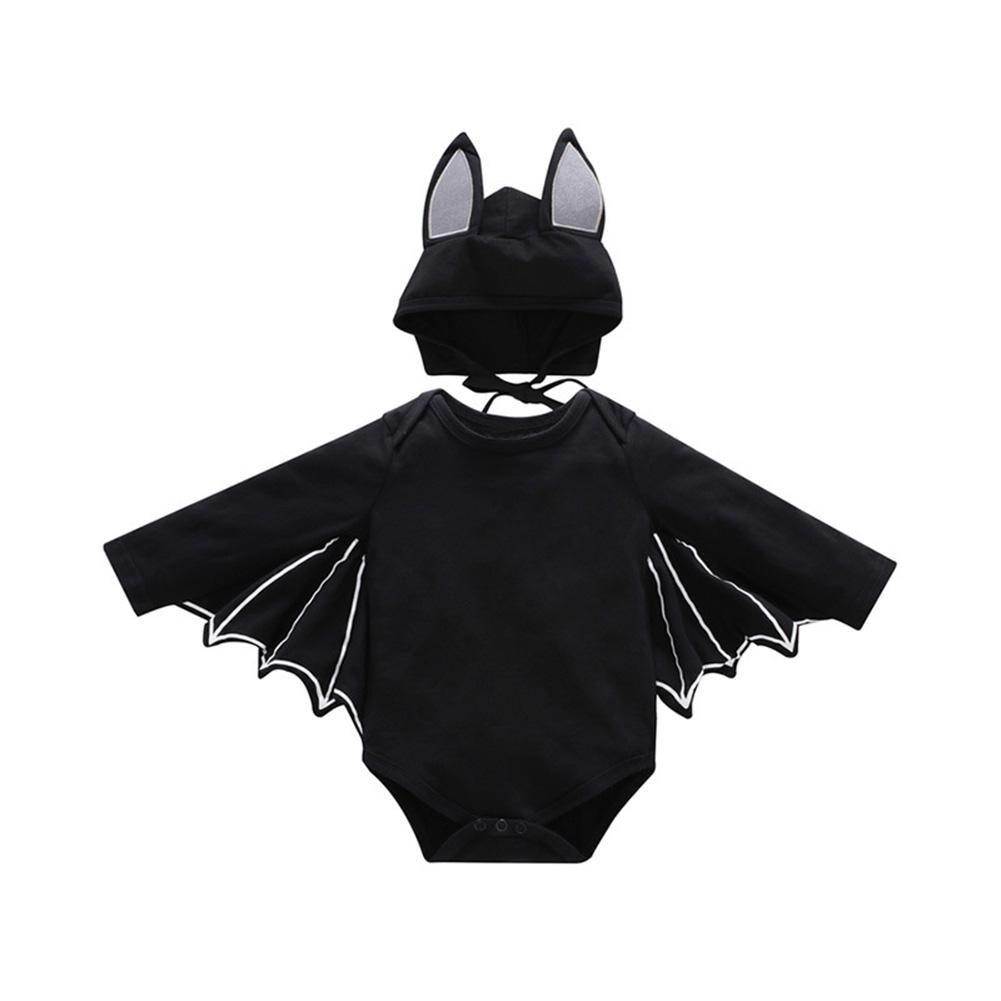 2PCS/Set Unisex Baby Halloween Cosplay Costume Bat Design Long-sleeve Rompers + Hat black_90cm
