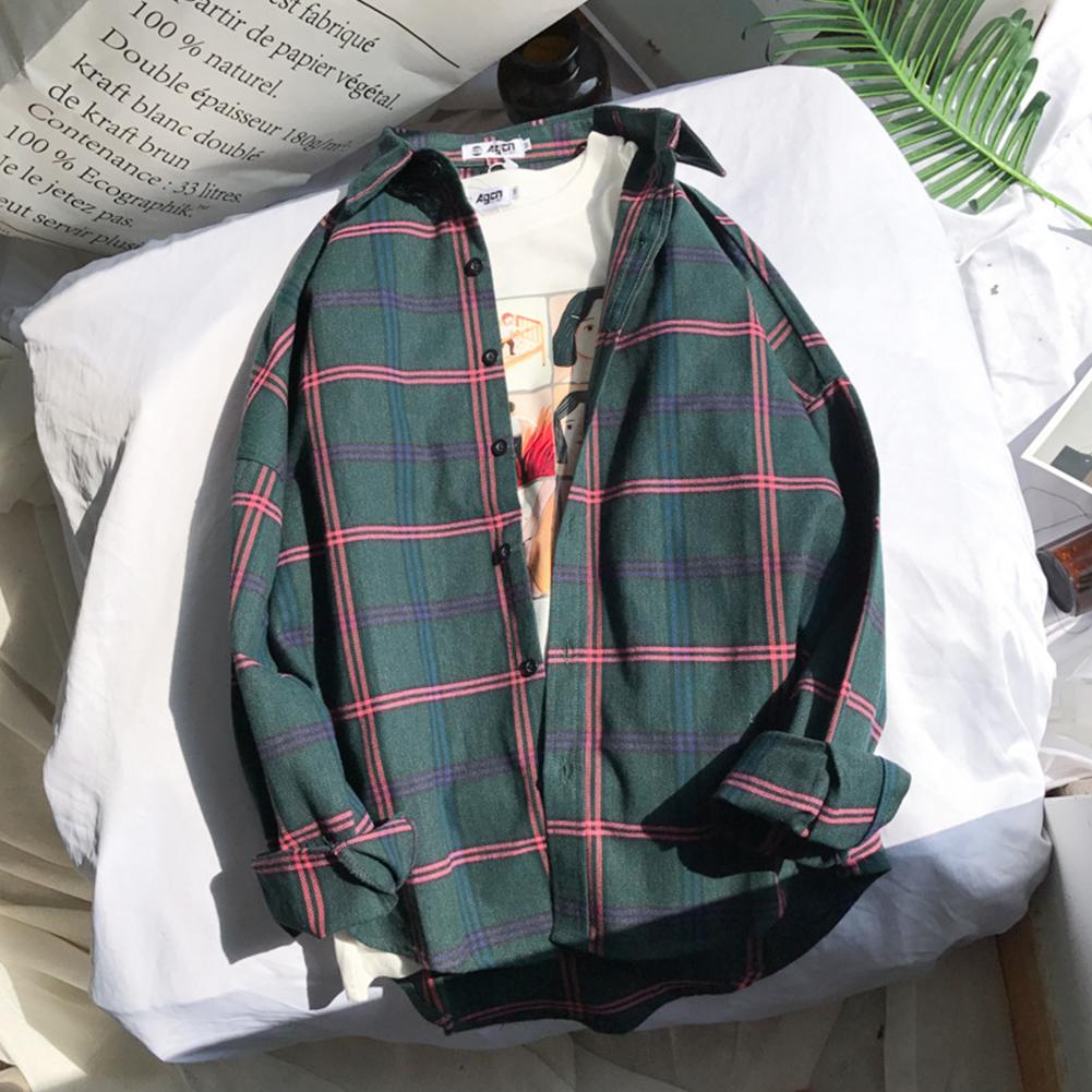 Unisex Long Sleeve Fresh Style Loose Retro Chic Shirt green_XXL