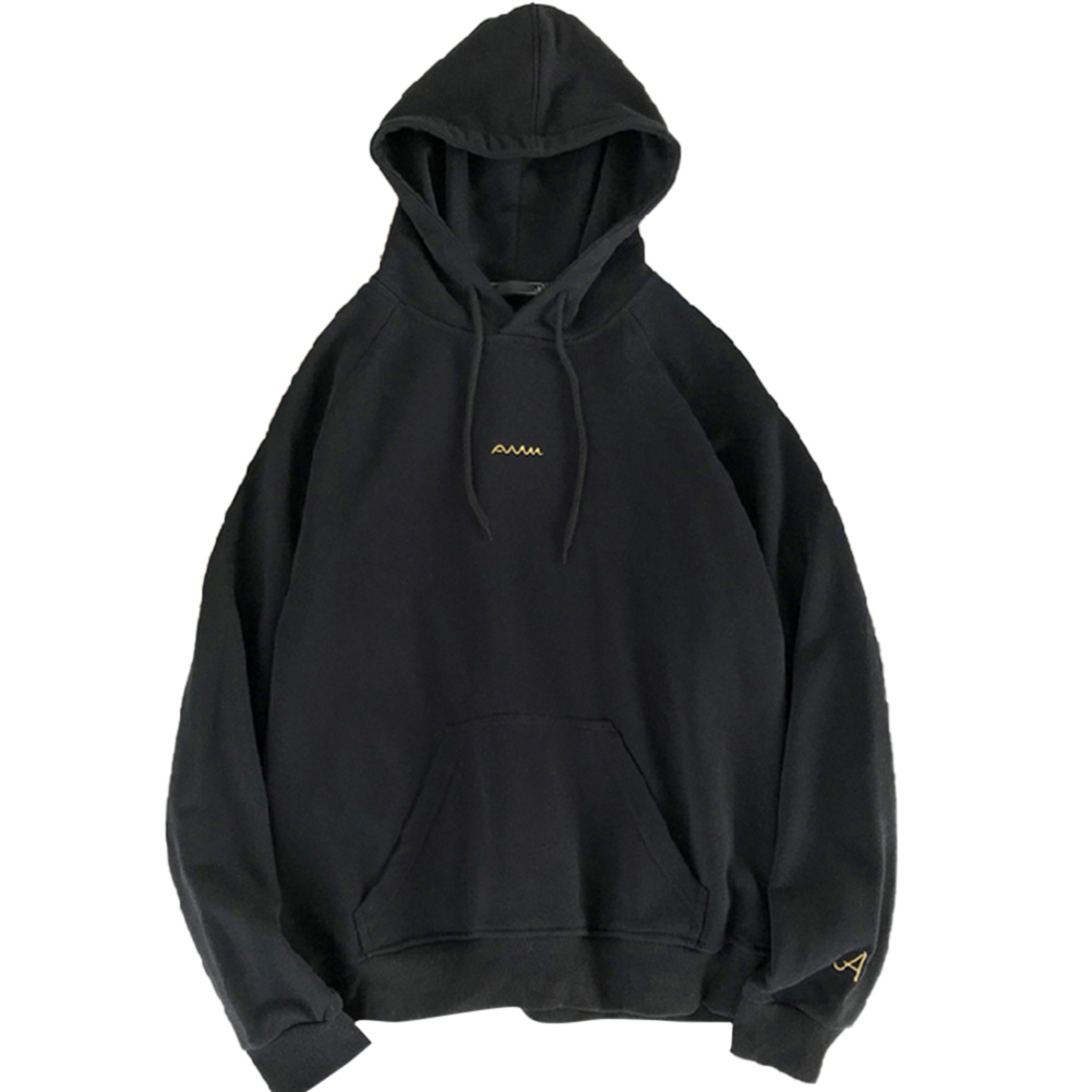 Men Women Hoodie Sweatshirt Printing Letter Spring Autumn Loose Pullover Tops Black_XL