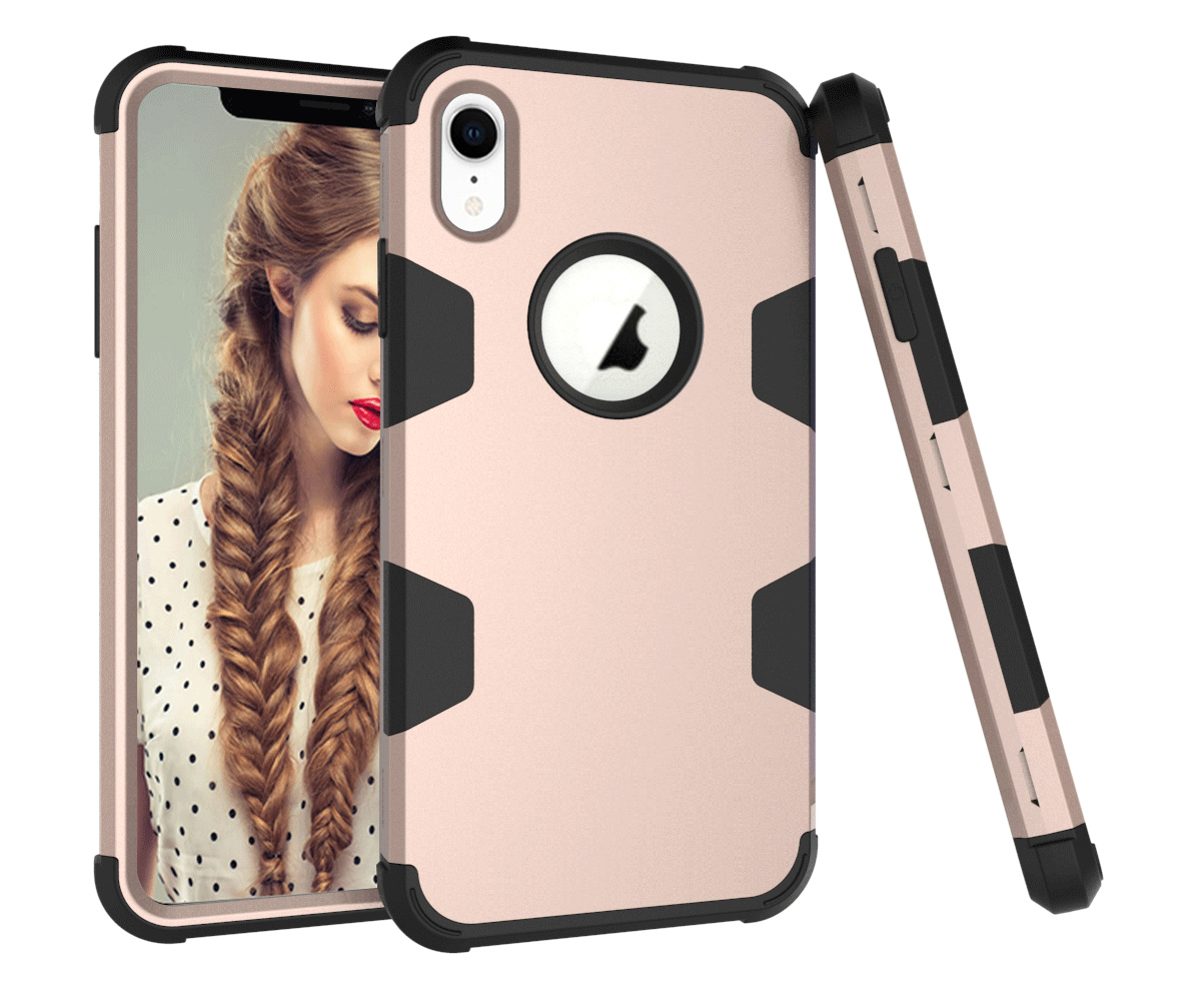 For iPhone XR PC+ Silicone 2 in 1 Hit Color Tri-proof Shockproof Dustproof Anti-fall Protective Cover Back Case