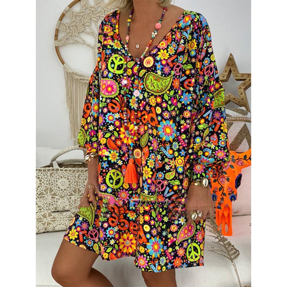 Women Printing Dress V-collar Long Sleeve Medium Long Dress black_M