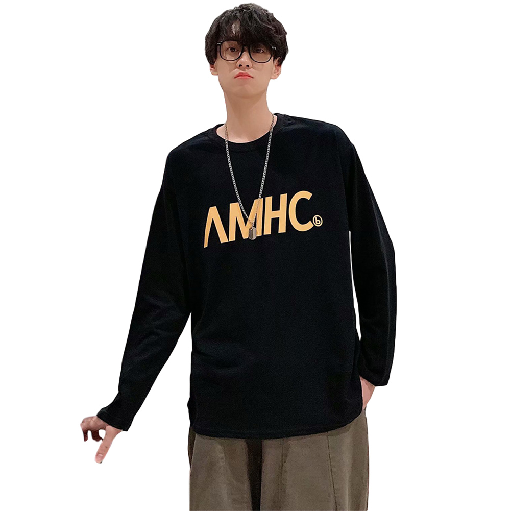 Men's T-shirt Spring and Autumn Long-sleeve Letter Printing Crew- Neck All-match Bottoming Shirt Black _L