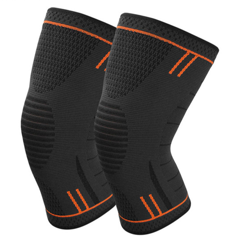 Non Slip Silicone Sports Knee Pads Support for Running Cycling Basketball Orange_M