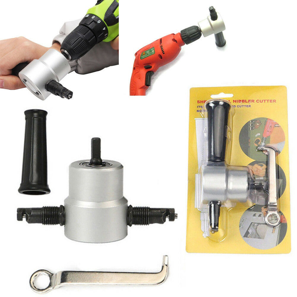 Double Head Sheet Metal Nibbler Saw Cutter Cutting Tool Power Drill Attachment(Silver) Silver