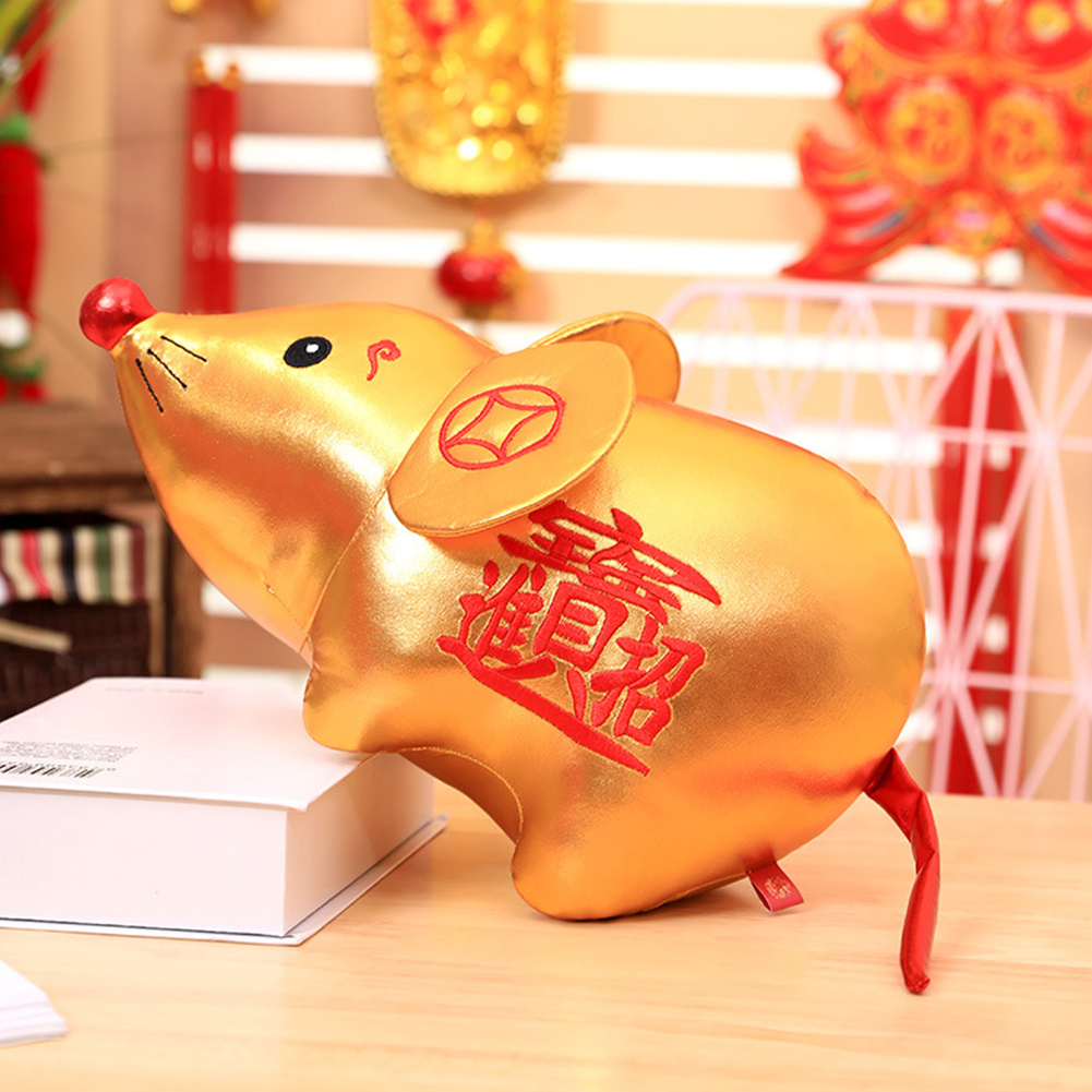 1PC Cute Blessing Plush Doll Mouse Shape Toy for New Year Party Decoration Gold