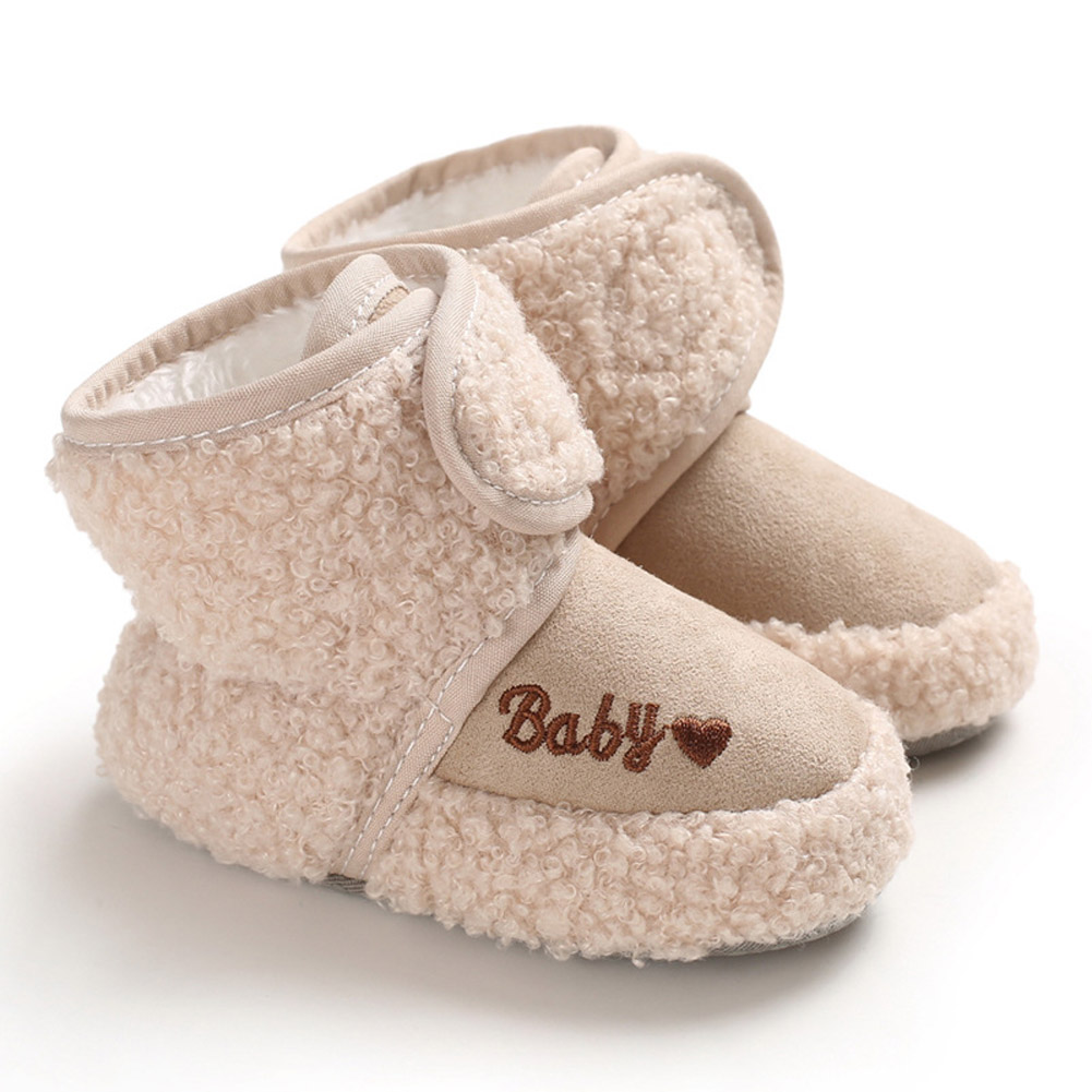 Newborn Plush Snow Boot Warm Soft Sole Non-slip Shoes for Winter Infant Boys Girls apricot_Inside length 13 cm