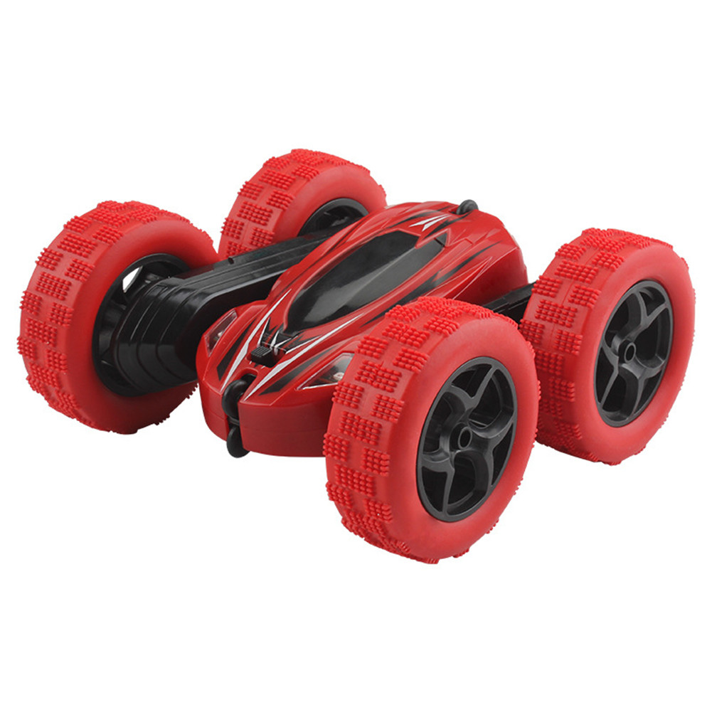 360 Degrees Rotating Double Sided RC Stunt Car with Light 1:24 Modeling Toy for Kids red