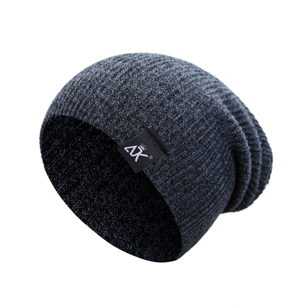 Baggy Beanies Winter Cap Outdoor Bonnet Skiing Hat Soft Knitted Hat for Man and Woman Dark gray