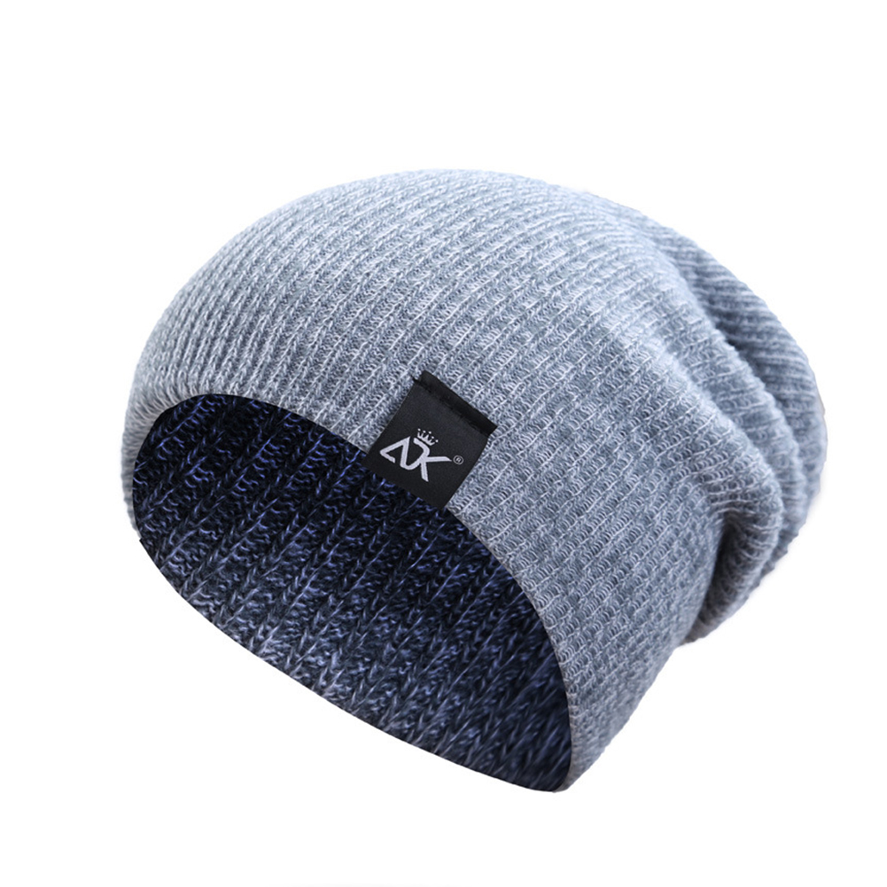 Baggy Beanies Winter Cap Outdoor Bonnet Skiing Hat Soft Knitted Hat for Man and Woman light grey