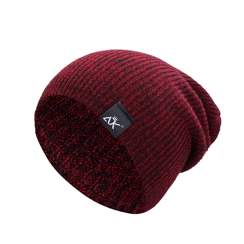 Baggy Beanies Winter Cap Outdoor Bonnet Skiing Hat Soft Knitted Hat for Man and Woman Wine red