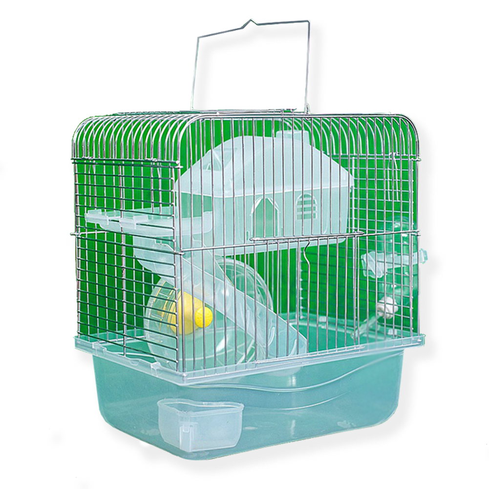 Stainless Steel Pet Cage Transparent Crystal Color Hamster Cottage Double Layer House for Hamster Golden Hamster Pet Transparent crystal_L
