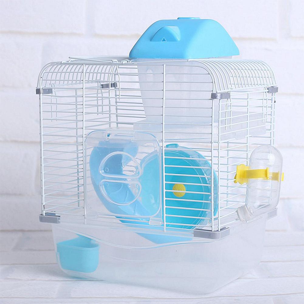 Crystal Pet Cage Hamster Cottage Double Layer House for Hamster Golden Hamster Pet blue_L