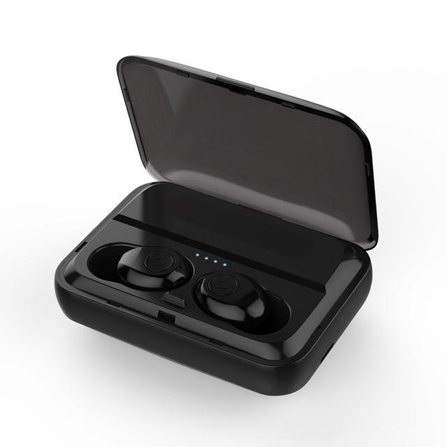 F9 TWS Bluetooth Earphones V5.0 Wireless Headphone HIFI Earbuds Stereo Bass Headset with Mic black