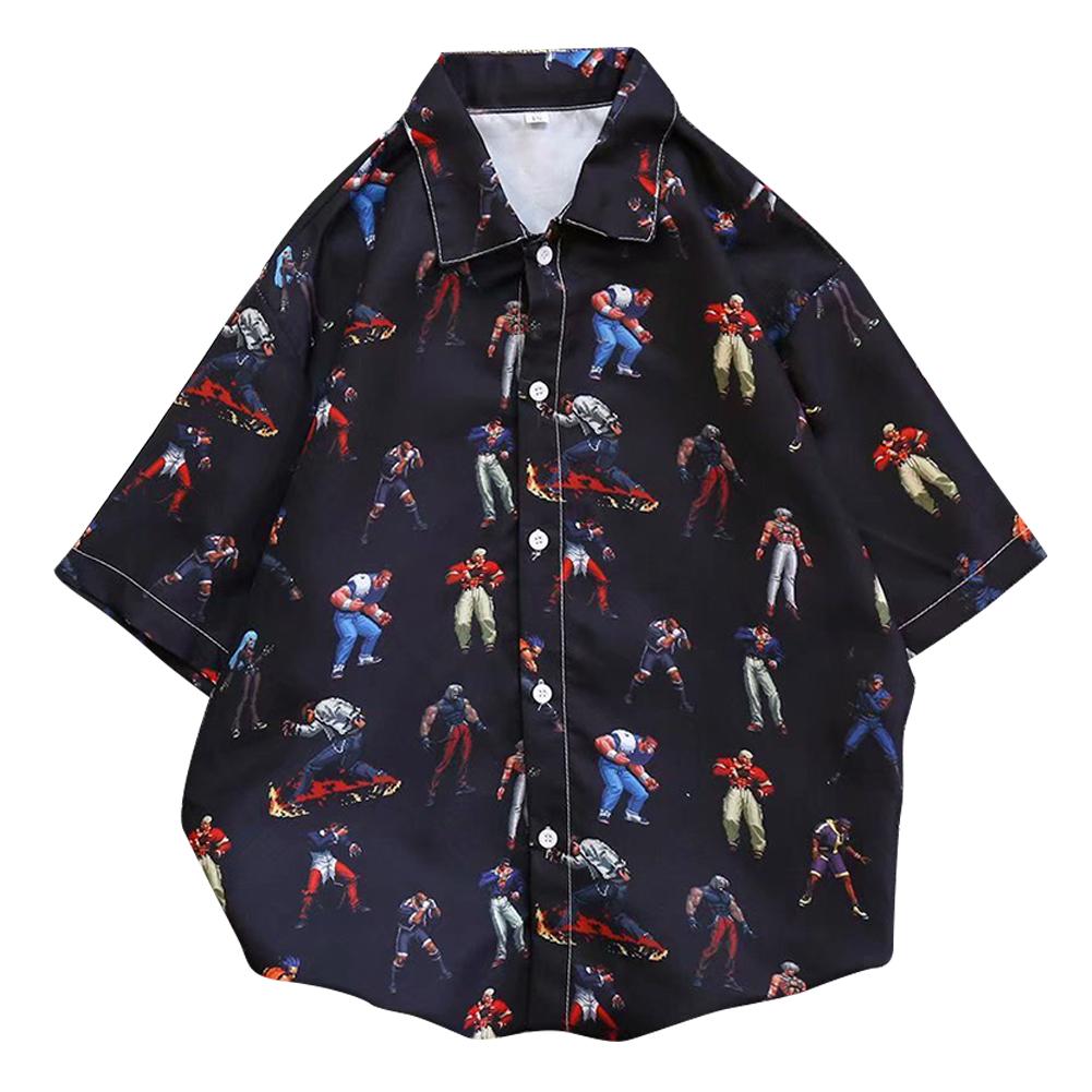 Men Women Lapel Shirt Short Sleeve Retro Hip-hop Boxer Loose Base Shirt Tops C111 #_M