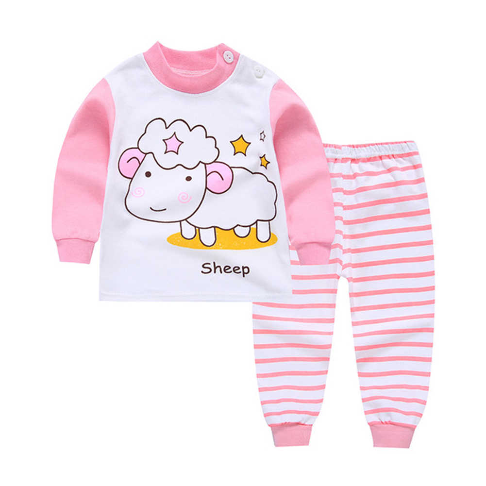 2pcs/set Children Boys Girls Soft Cotton Home Wear Set Tops + Pants pink sheep_80 yards / 55