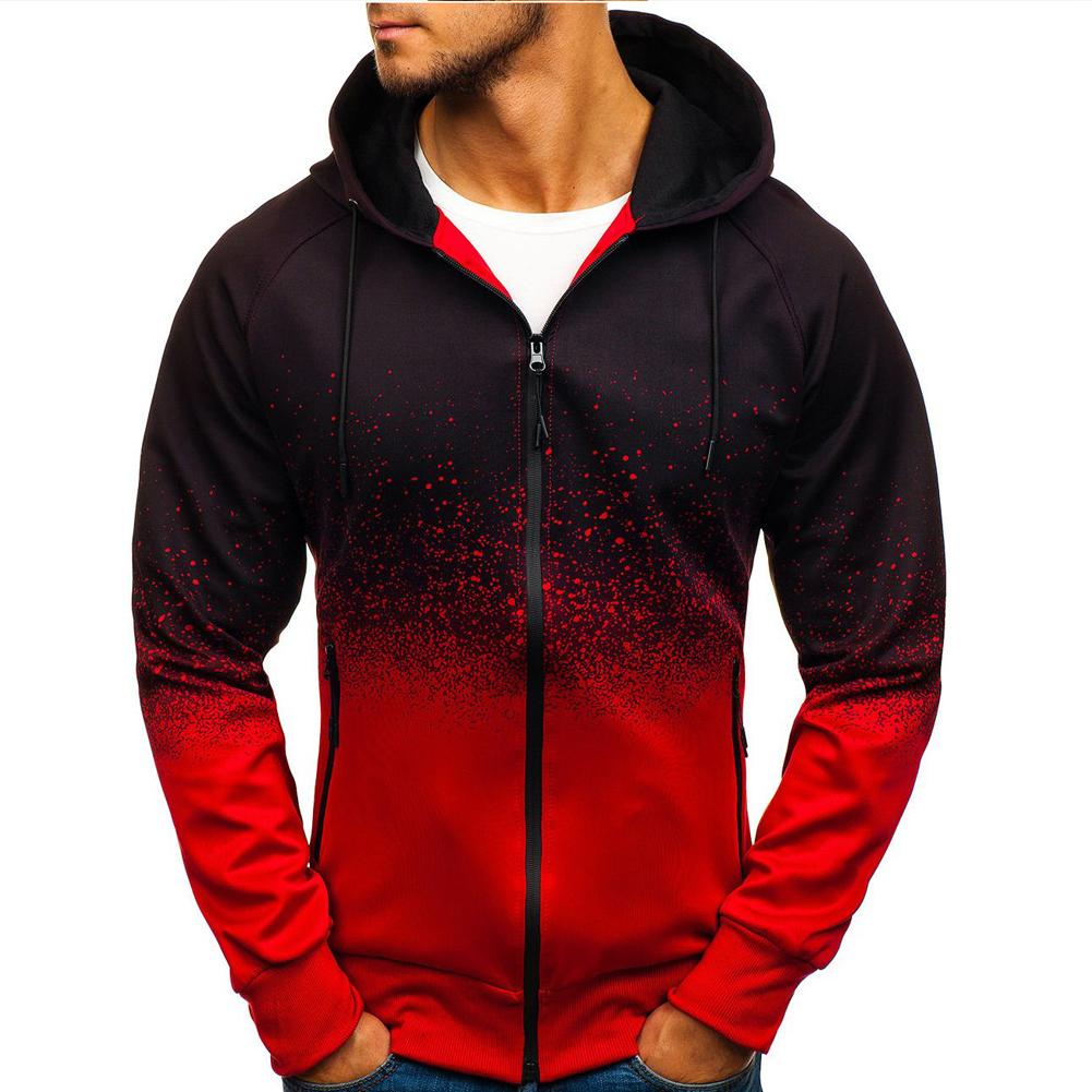 Men 3D Gradient Digital Printing Zipper Hooded Sweatshirt red_L