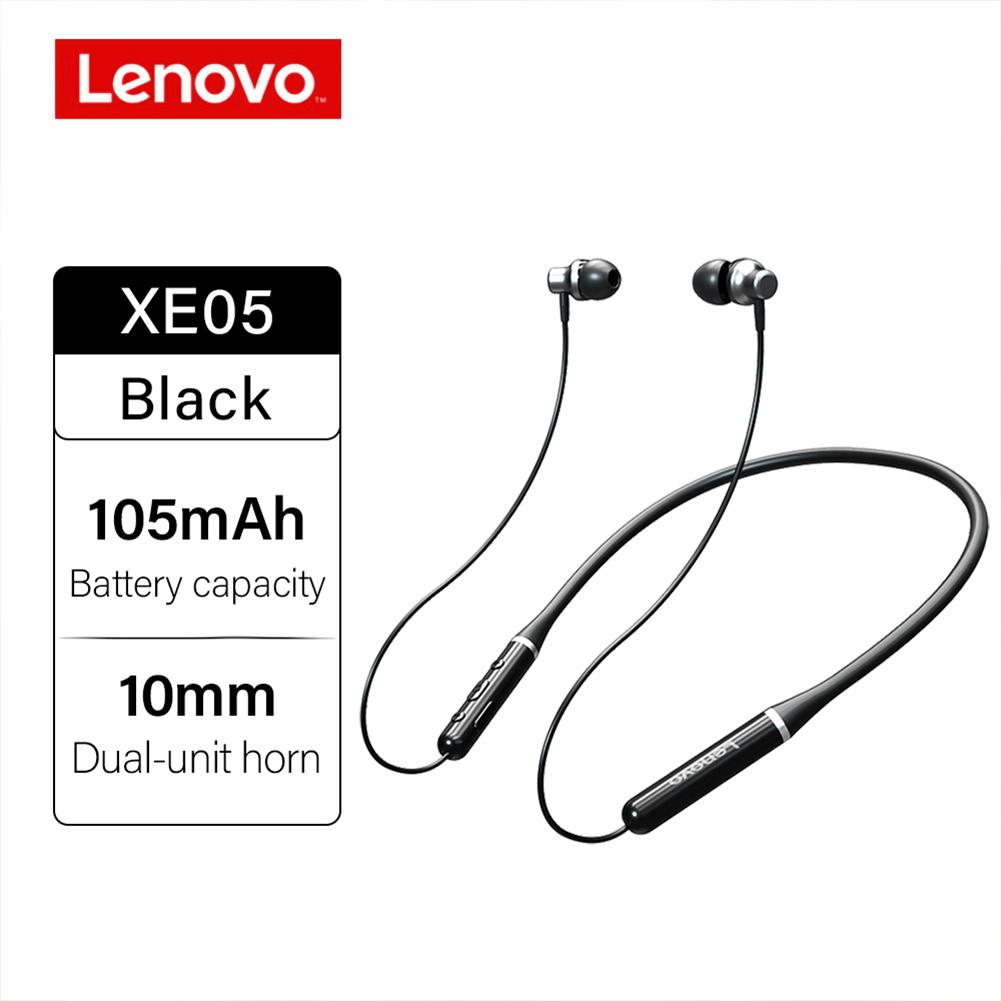 Original LENOVO XE05 Neck-type Bluetooth Headset Sports Waterproof Long Standby Earphones Black