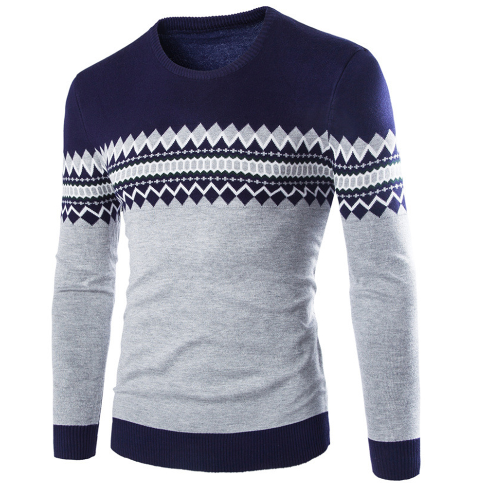 Slim Pullover Long Sleeves and Round Collar Sweater Floral Printed Base Shirt for Man Navy_L