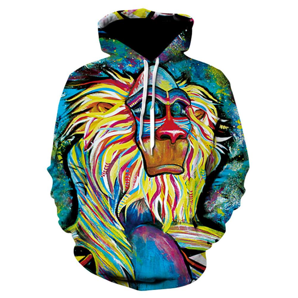 Halloween Christmas Men/Women Colorful Cartoon Ape Hoodie Fashionable Hooded Pullover Sweatshirts Tops WE70_XXL
