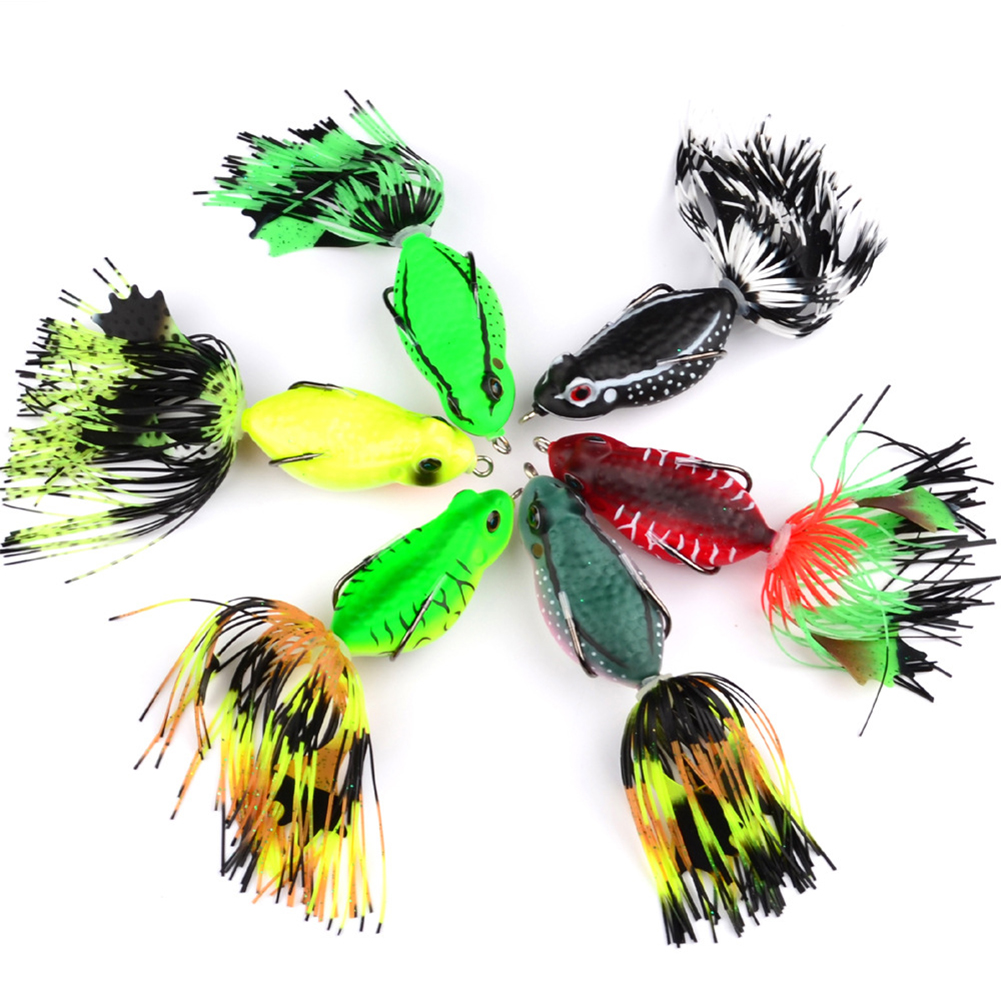 6.35cm/20g Soft Bait Frog Fishing Lures with Tassel Tail Crankbaits for Bass Snakehead Random Colors random color