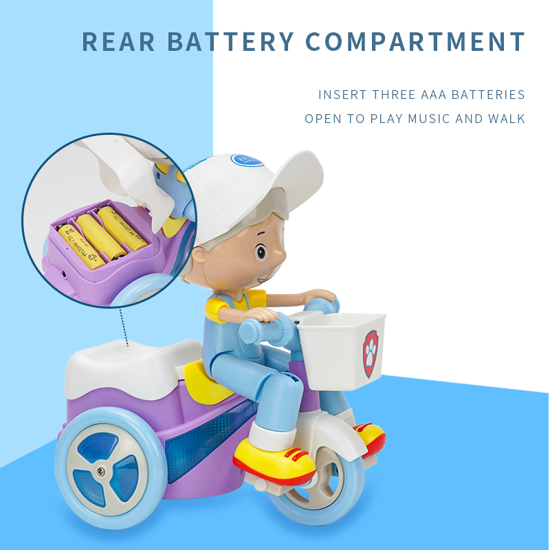 Children Electric Stunt Tricycle Universal Crane Head 360 Degree Rotation Music Lighting Car Educational Toy White