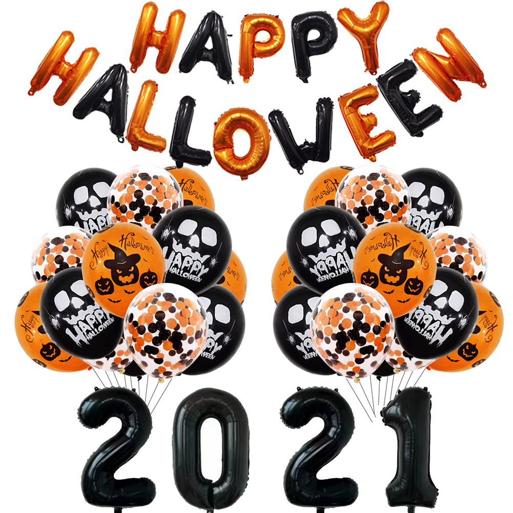 Aluminum  Film  Halloween  Balloon  Decoration  Set Halloween Party Balloon Backdrop Ornament Black digital suit