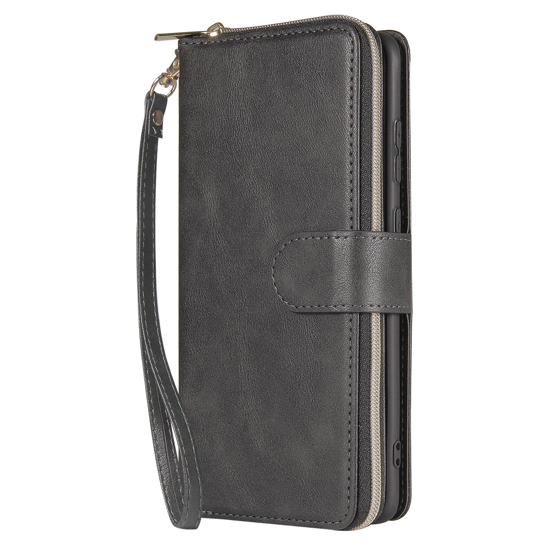 For Samsung S10/S20/S10E/ S10 Plus Pu Leather  Mobile Phone Cover Zipper Card Bag + Wrist Strap black