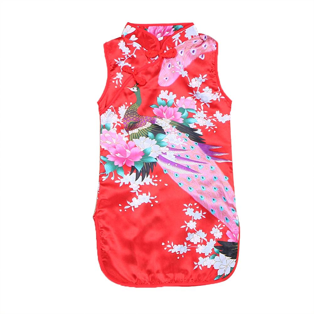 [Indonesia Direct] Kids Girls Stand Collar Peacock Printing Cheongsam red_130cm