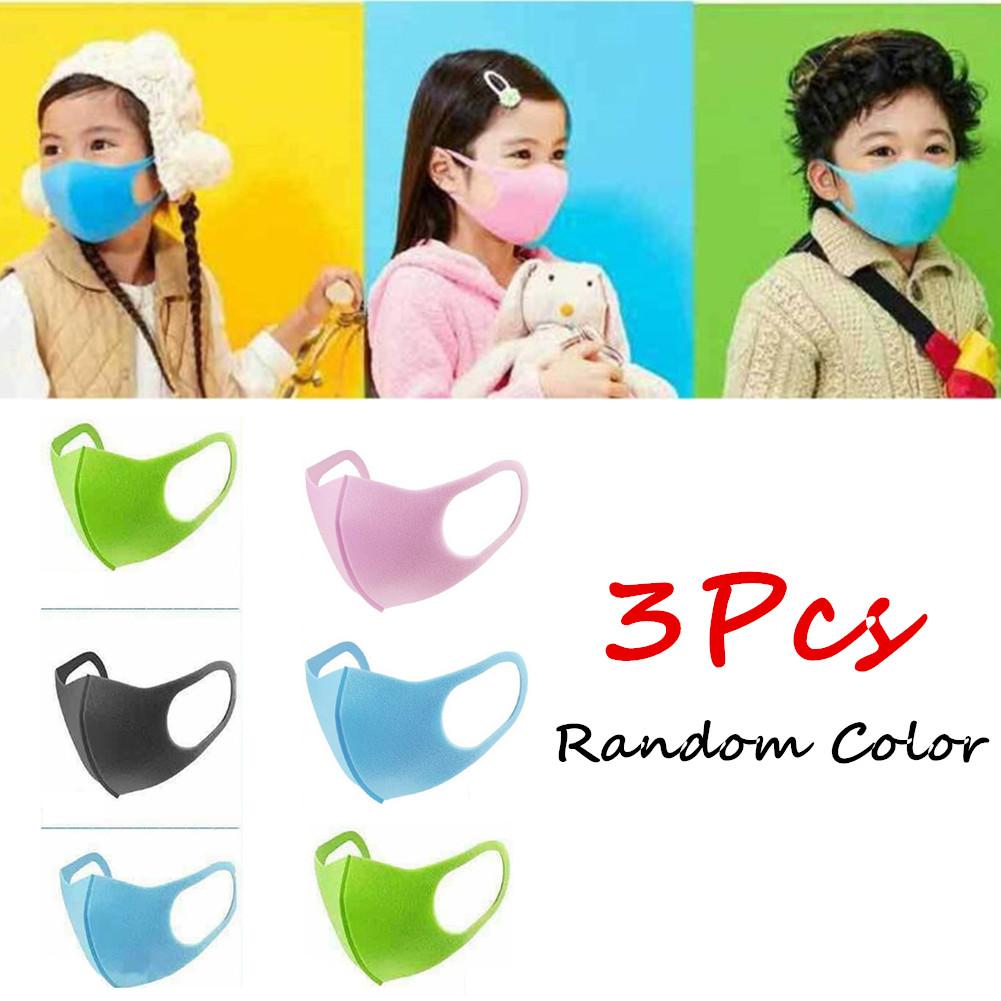 [Indonesia Direct] 3Pcs PM2.5 Kid Respirator Anti-haze Mask Breathable Washable PU Sponge Dustproof Random Color Boys 3pcs