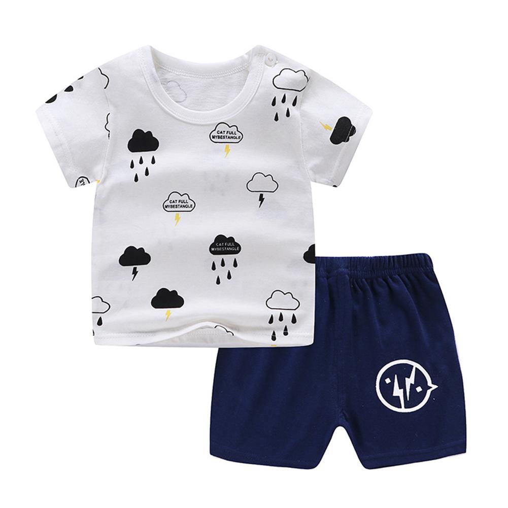 [Indonesia Direct] 2pcs/set Unisex Baby Short Sleeved Tops+Shorts Children Home Wear DT  thunderstorms_50  73cm
