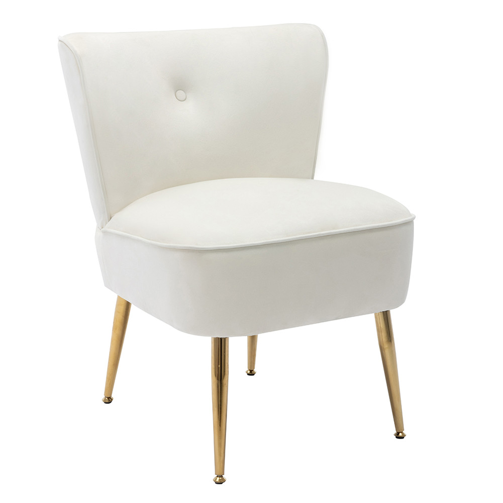 [US Direct] Side Chair  Back  Chair Fabric Upholstered Seat Chairs For Occasional Bedroom Leisure Ivory