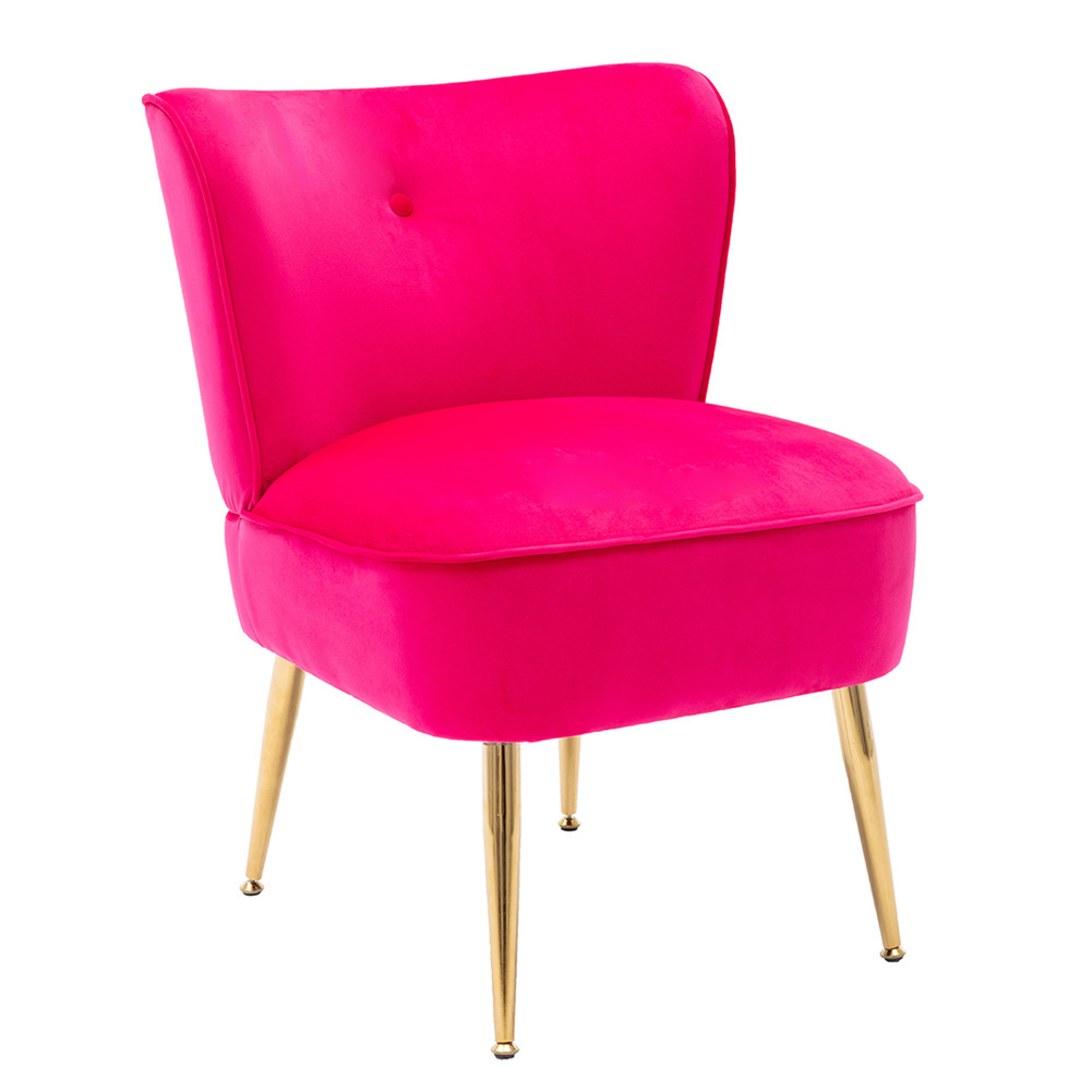 [US Direct] Side  Chair Back Chair Fabric Upholstered Seat Chairs For Occasional Bedroom Leisure Fuchsia