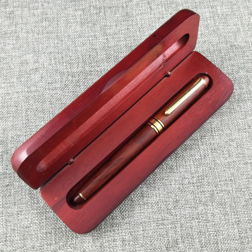 0.7mm Wood Gold Metal Ball Point Pen Classic Style with Matching Case as Perfect Gift Pen + box