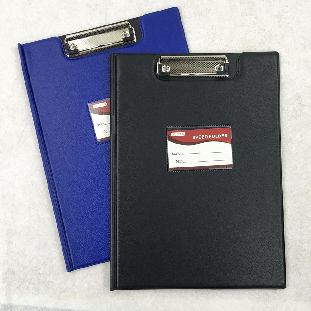 A4 Leather Folding Clipboard Office Document Holder Filing Clip Board A4 leather folding plate clip (random color)_318*230