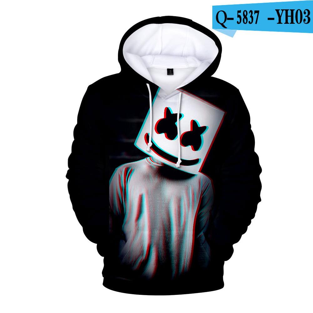Men Women DJ Marshmello Fans 3D Print Small Logo Long Sleeve Sport Hoodies Sweatshirt H style_S