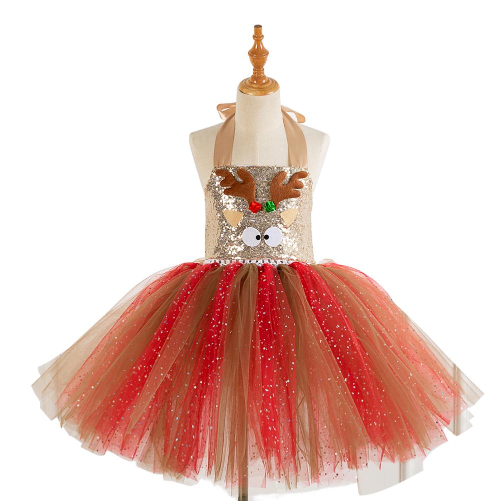 Girls Dress Christmas Net Yarn Princess Skirt + Headwear for 4-12 Years Old Kids HD93424