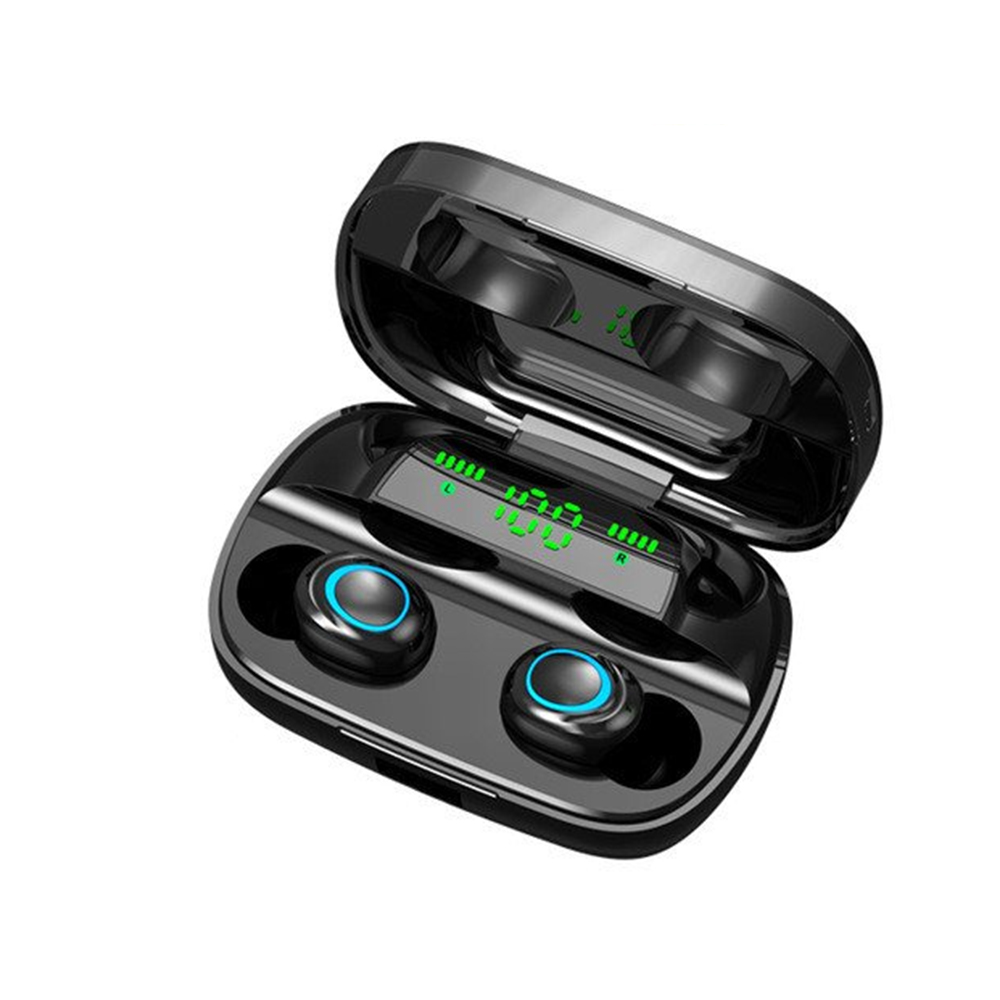S11 TWS Bluetooth Earphone Wireless Sport Earbuds BT 5.0 Built in Microphone with 3500mAh Power Bank Black with digital display