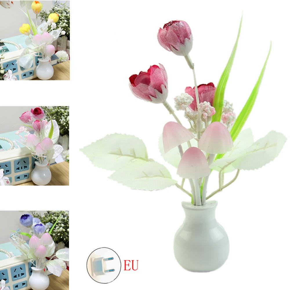 Romantic Tulip Shape Light Sensor Night Light for Bed Room Decor European Regulation Pink