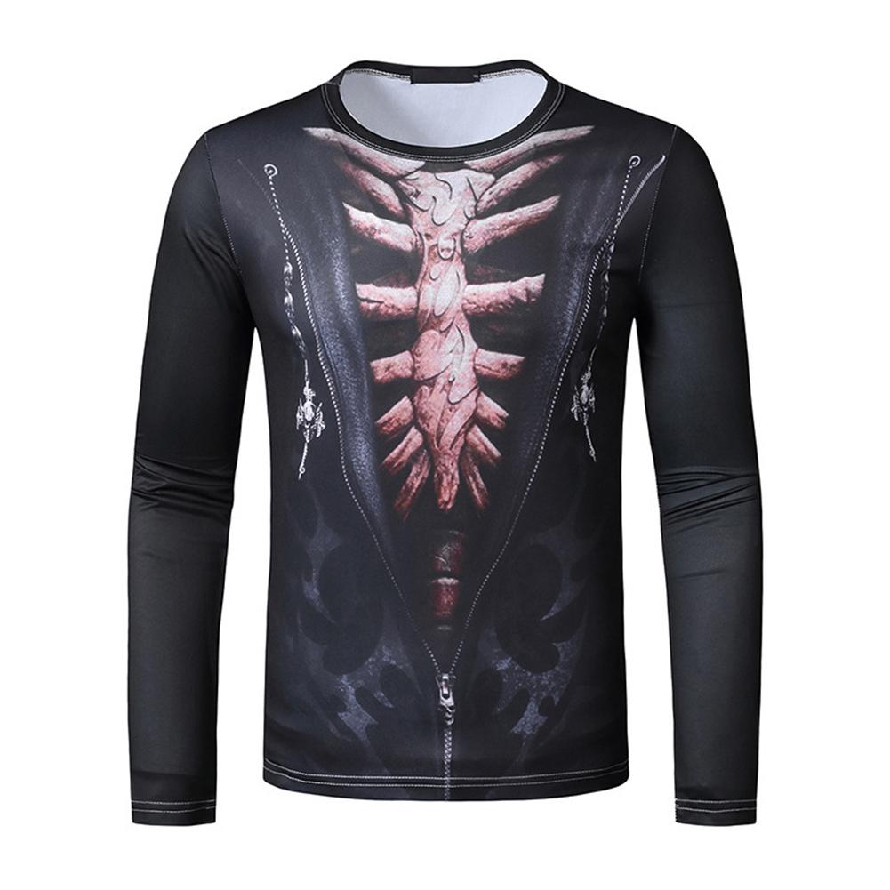 Men Long Sleeved Round Neck Shirt 3d Digital Printing Halloween Series Horror Theme Long Sleeve T-shirt  Black_2XL