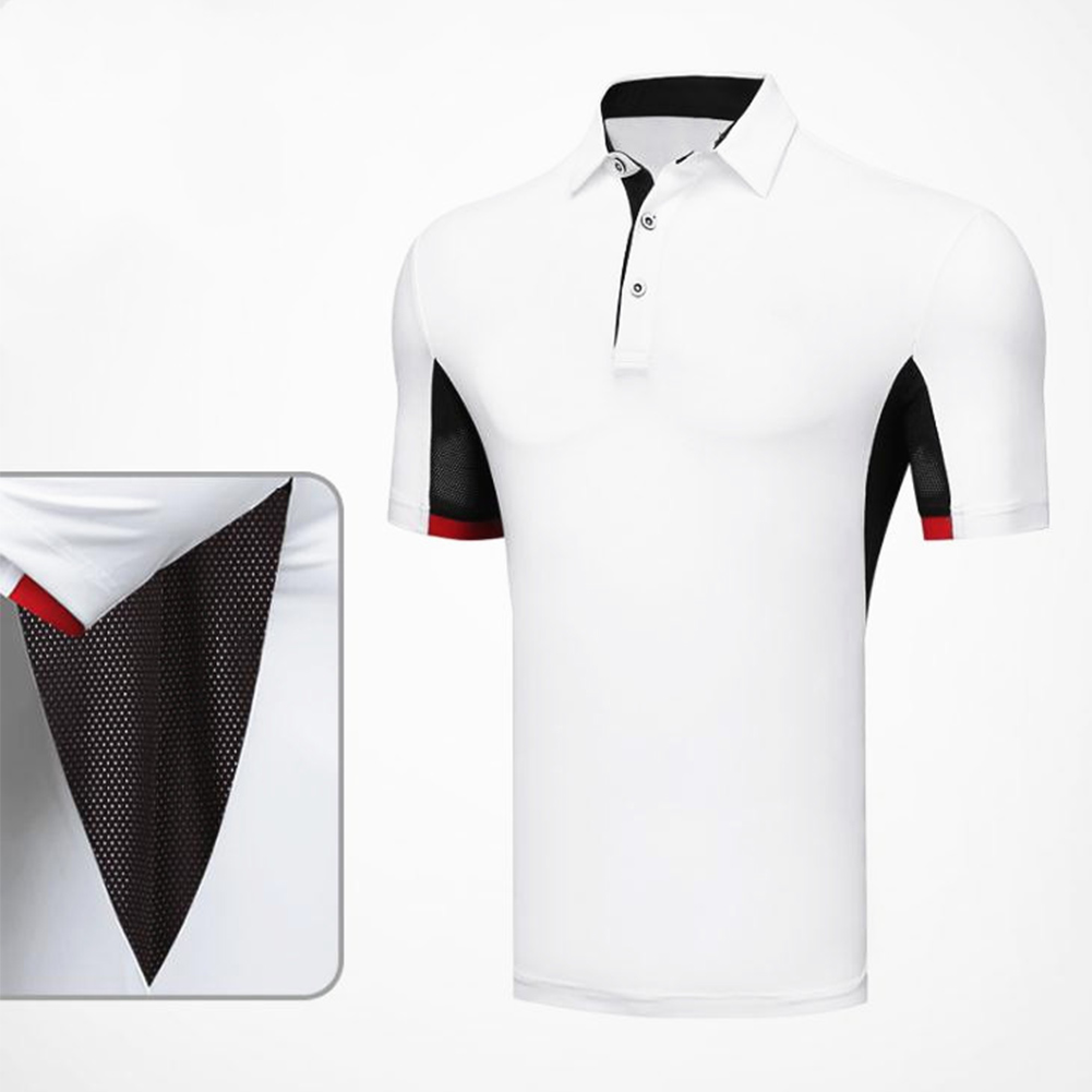 Comfortable Golf Clothes Male Short Sleeve T-shirt Fast Dry and Breathable Shirt YF126 white_L
