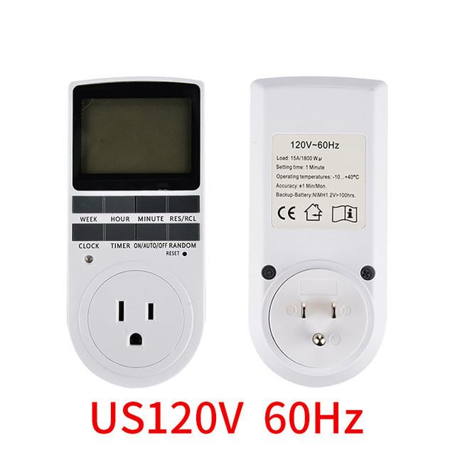 Electronic Digital Timer Switch EU US BR Plug Kitchen Timer Outlet 230V Programmable Timing Socket U.S. regulations