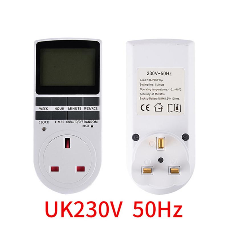 Electronic Digital Timer Switch EU US BR Plug Kitchen Timer Outlet 230V Programmable Timing Socket British regulatory