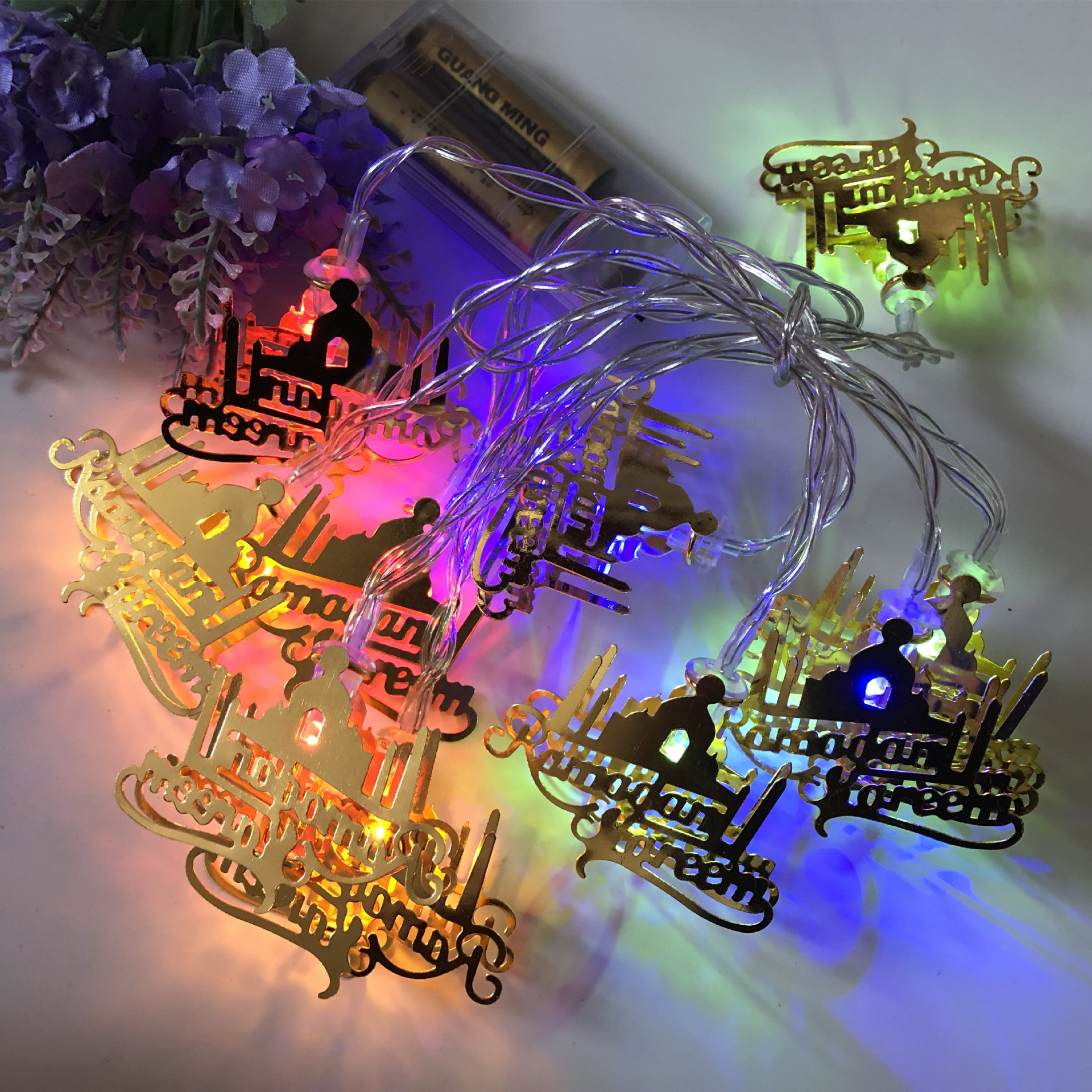 LED String Light Iron Letter Night Lamp for Eid Mubarak/Ramadan Decoration colors