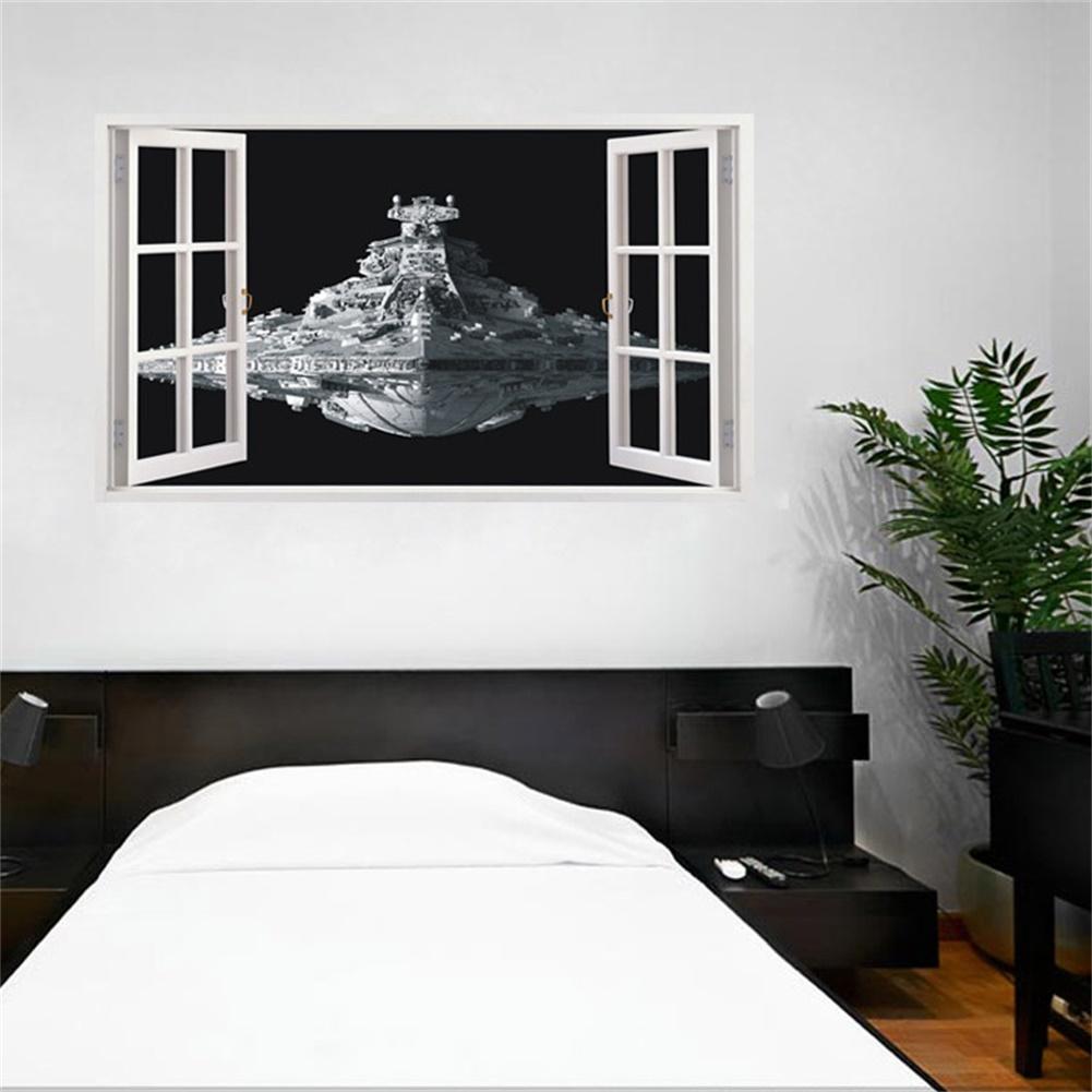 [EU Direct] DIY Three-dimensional Star Wars Alien Spaceship Wall Stickers Waterproof Removable Window Wall Decals Decor