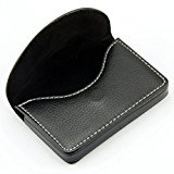 [EU Direct] Pindi Black Leather Name Card Wallet / Holder with Magnetic Shut (N001-BL UK)
