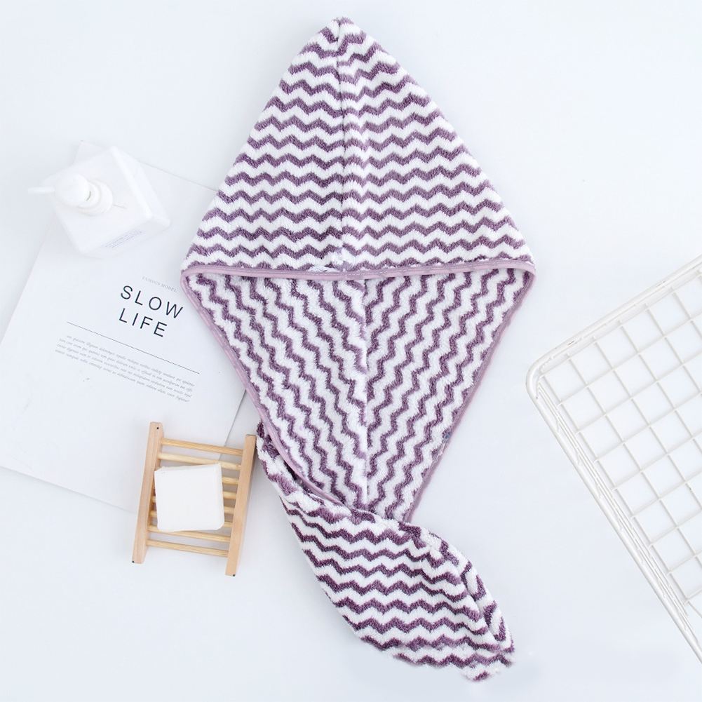 Dry Hair Towel Strong Absorbency Rapid Drying Hair Towel for Home Hotel Travel  purple_25 * 64cm