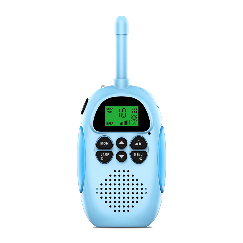 2pcs/set Children Walkie Talkie Kids Transceiver Handheld 3km Range Lanyard Mini Toy Birthday Gift Blue Pink