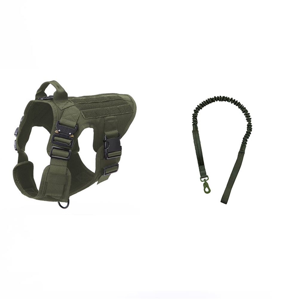 1000d Nylon Dog  Vest Outdoor Pet Vest With Buckle Quick Release Vest For Dog Army green + rope_M